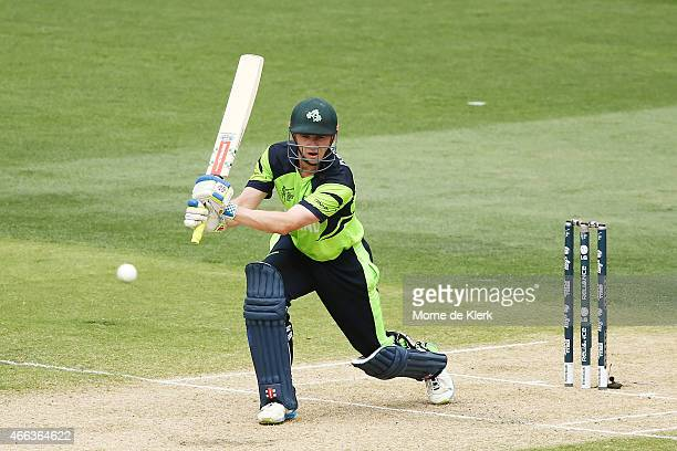 William Porterfield of Ireland bats during the 2015 ICC Cricket World Cup match between Pakistan and Ireland at Adelaide Oval on March 15 2015 in...