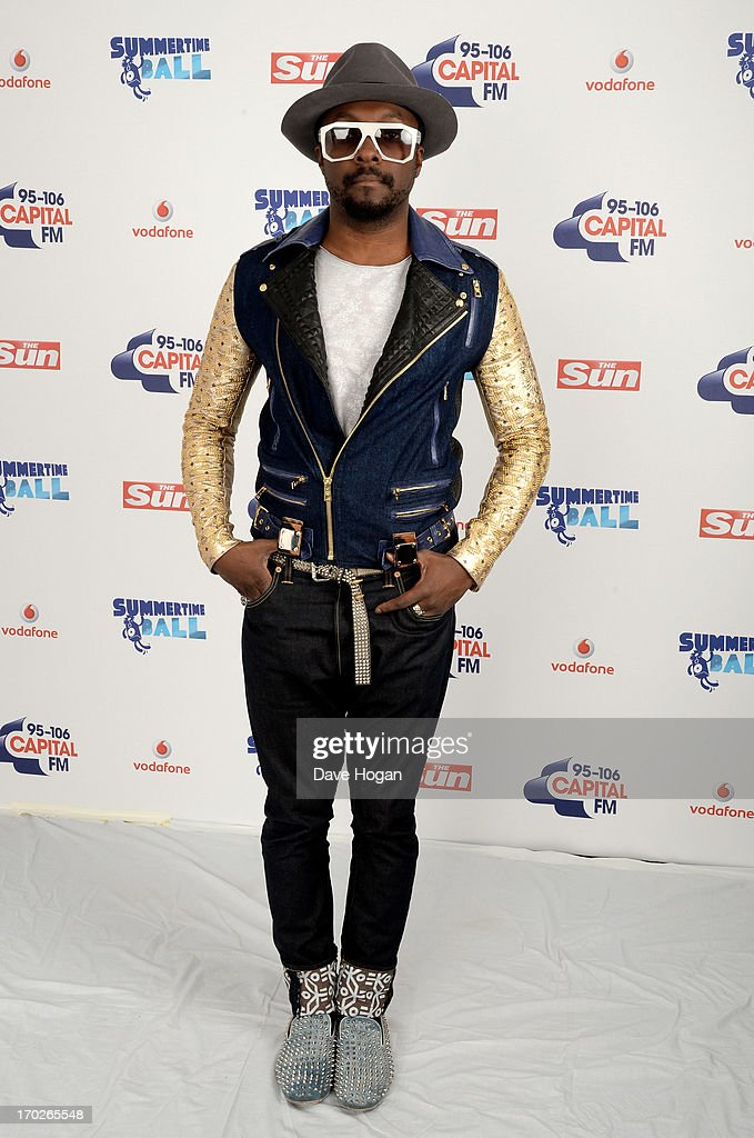 Will.i.am poses in a backstage studio during the Capital Summertime Ball at Wembley Stadium on June 9, 2013 in London, England.