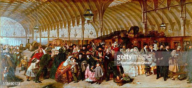 William Powell Frith English painter 'The Railway Station' 1862 showing a crowded Paddington Station London