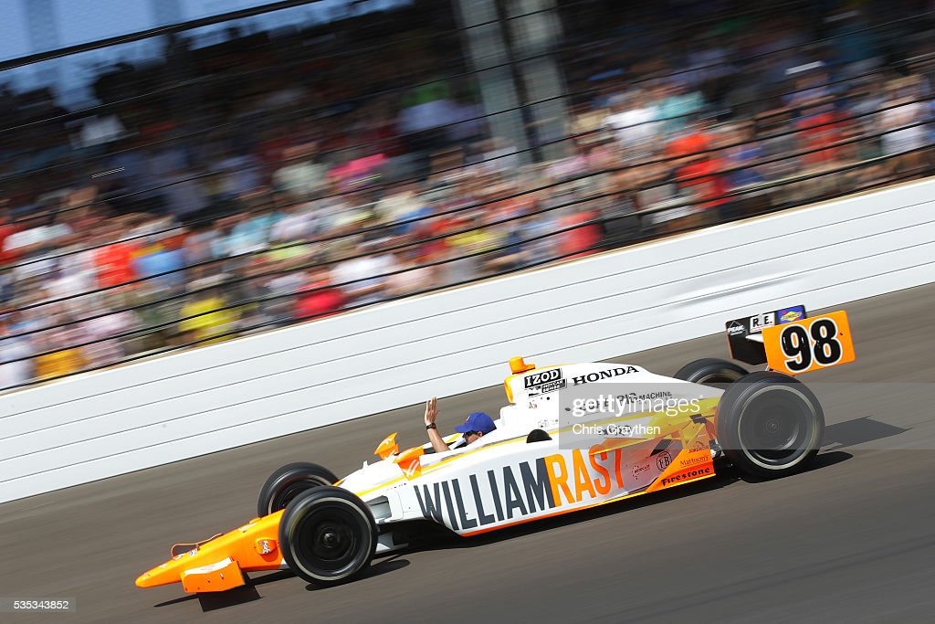 William Rast-Curb/Big Machine Dallara Honda is driven on the track prior to the 100th running of the Indianapolis 500 at Indianapolis Motorspeedway on May 29, 2016 in Indianapolis, Indiana.