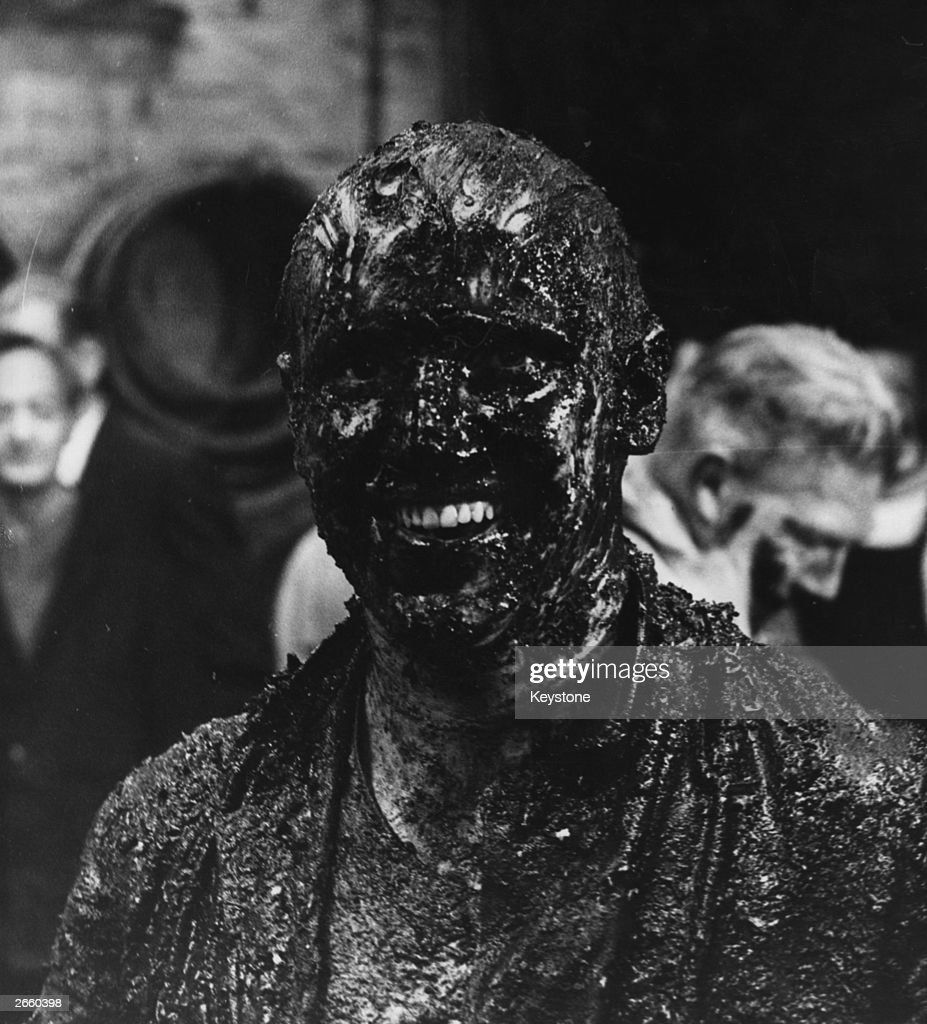 William Ripley covered in treacle and pigswill after being subjected to the 'Trussing the Cooper' ceremony at a London brewery