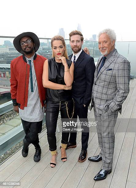 WillIAm Rita Ora Ricky Wilson and Sir Tom Jones attend the launch of 'The Voice UK' Series 4 at The Mondrian Hotel on January 5 2015 in London England