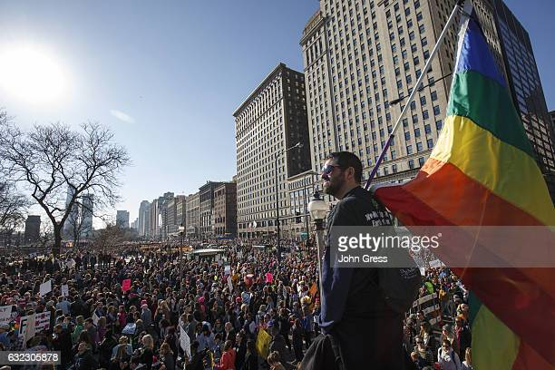 William Rosen looks over protesters as they participate in the Women's March on January 21 2017 in Chicago Illinois Tens of thousands of...