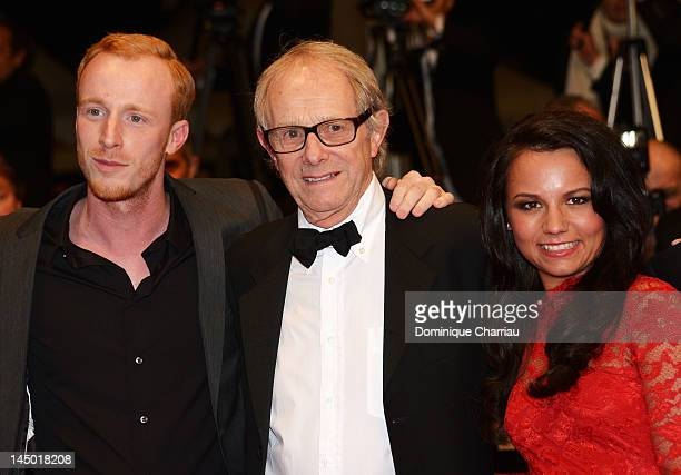 William Ruane director Ken Loach and Jasmin Riggins attend 'The Angels' Share' Premiere during the 65th Annual Cannes Film Festival at Palais des...