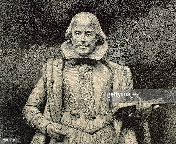 William Shakespeare British writer Portrait Engraving by Baude 19th century