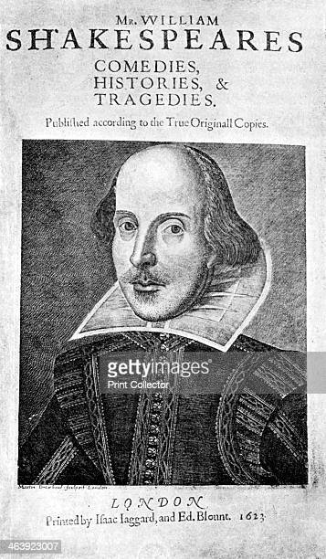 William Shakespeare English playwright 1623 Title page from the First Folio edition of Shakespeare's plays published in 1623