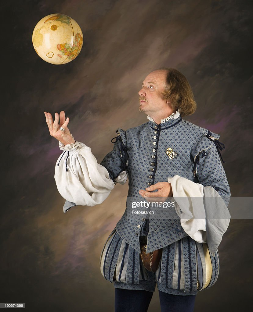 William Shakespeare in period clothing tossing globe into air