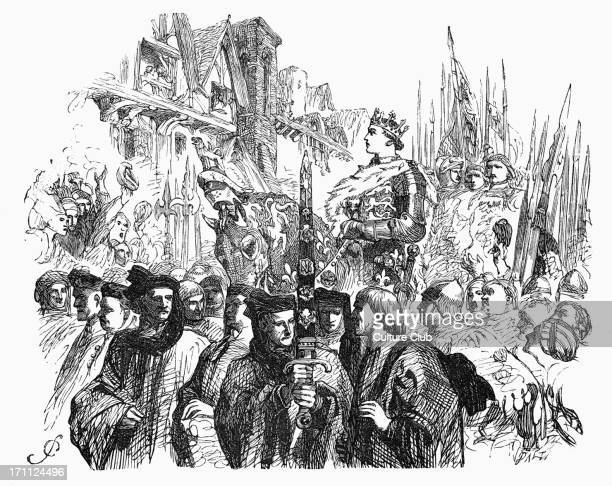 William Shakespeare 's play 'King Henry V' portrait of King Henry V on horseback Illustration from Act IV King riding through the crowdKing Henry V...