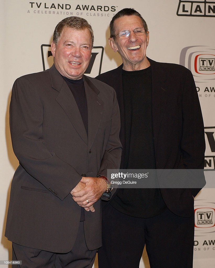 William Shatner and Leonard Nimoy presenters during 3rd Annual TV Land Awards Press Room at Barker Hangar in Santa Monica California United States