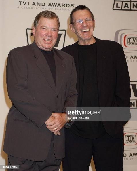 William Shatner and Leonard Nimoy presenters during 3rd Annual TV Land Awards Press Room at Barker Hangar in Santa Monica California United States