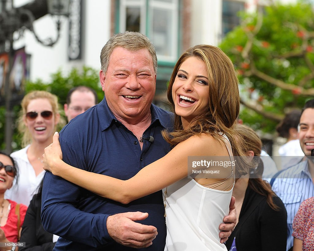 <a gi-track='captionPersonalityLinkClicked' href=/galleries/search?phrase=William+Shatner&family=editorial&specificpeople=202461 ng-click='$event.stopPropagation()'>William Shatner</a> and <a gi-track='captionPersonalityLinkClicked' href=/galleries/search?phrase=Maria+Menounos&family=editorial&specificpeople=203337 ng-click='$event.stopPropagation()'>Maria Menounos</a> visit 'Extra' at The Grove on April 25, 2012 in Los Angeles, California.
