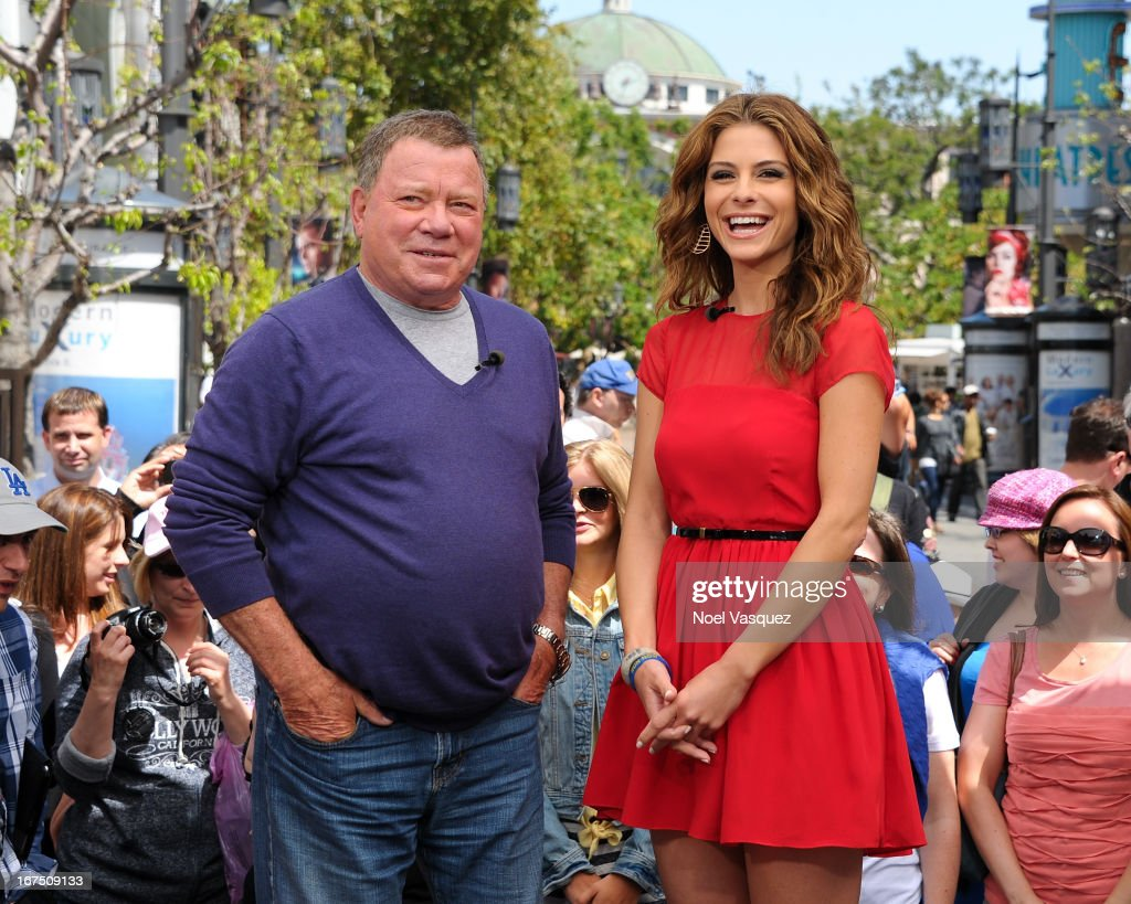 William Shatner (L) and Maria Menounos visit 'Extra' at The Grove on April 25, 2013 in Los Angeles, California.