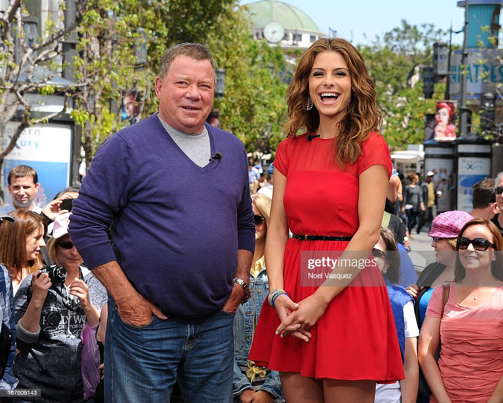 <a gi-track='captionPersonalityLinkClicked' href=/galleries/search?phrase=William+Shatner&family=editorial&specificpeople=202461 ng-click='$event.stopPropagation()'>William Shatner</a> (L) and <a gi-track='captionPersonalityLinkClicked' href=/galleries/search?phrase=Maria+Menounos&family=editorial&specificpeople=203337 ng-click='$event.stopPropagation()'>Maria Menounos</a> visit 'Extra' at The Grove on April 25, 2013 in Los Angeles, California.