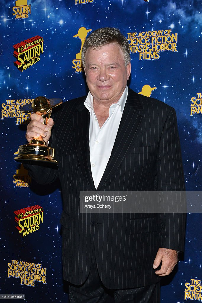 William Shatner poses in the pressroom at the 42nd Annual Saturn Awards at the Castaway on June 22, 2016 in Burbank, California.