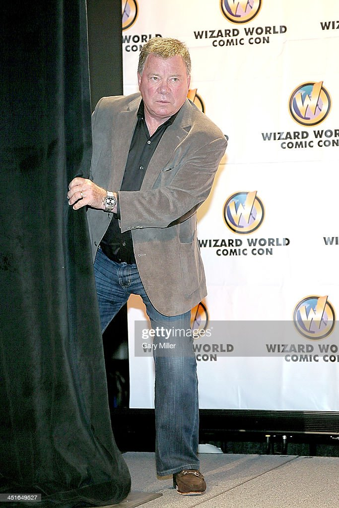 William Shatner speaks to fans during the Wizard World Austin Comic Con at the Austin Convention Center on November 23 2013 in Austin Texas
