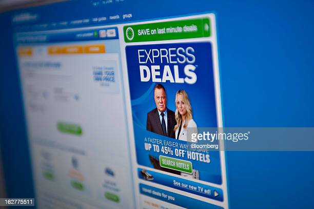 William Shatner spokesman for Pricelinecom appears on the the company's homepage displayed for a photograph in Tiskilwa Illinois US on Tuesday Feb 26...