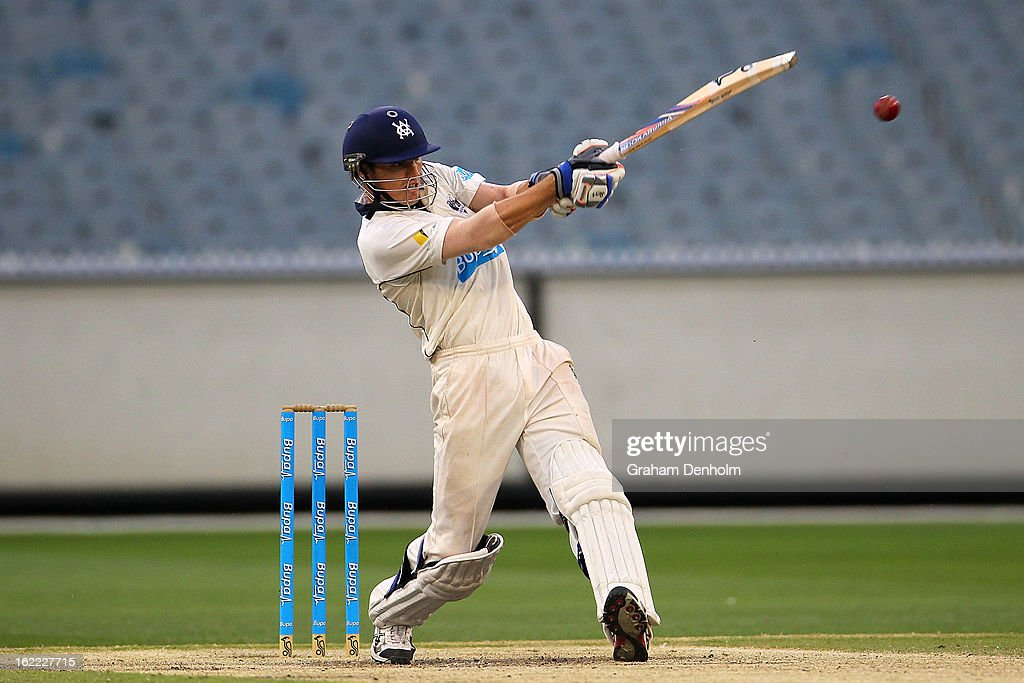William Sheridan of the Bushrangers bats during day four of the Sheffield Shield match between the Victorian Bushrangers and the Queensland Bulls at Melbourne Cricket Ground on February 21, 2013 in Melbourne, Australia.