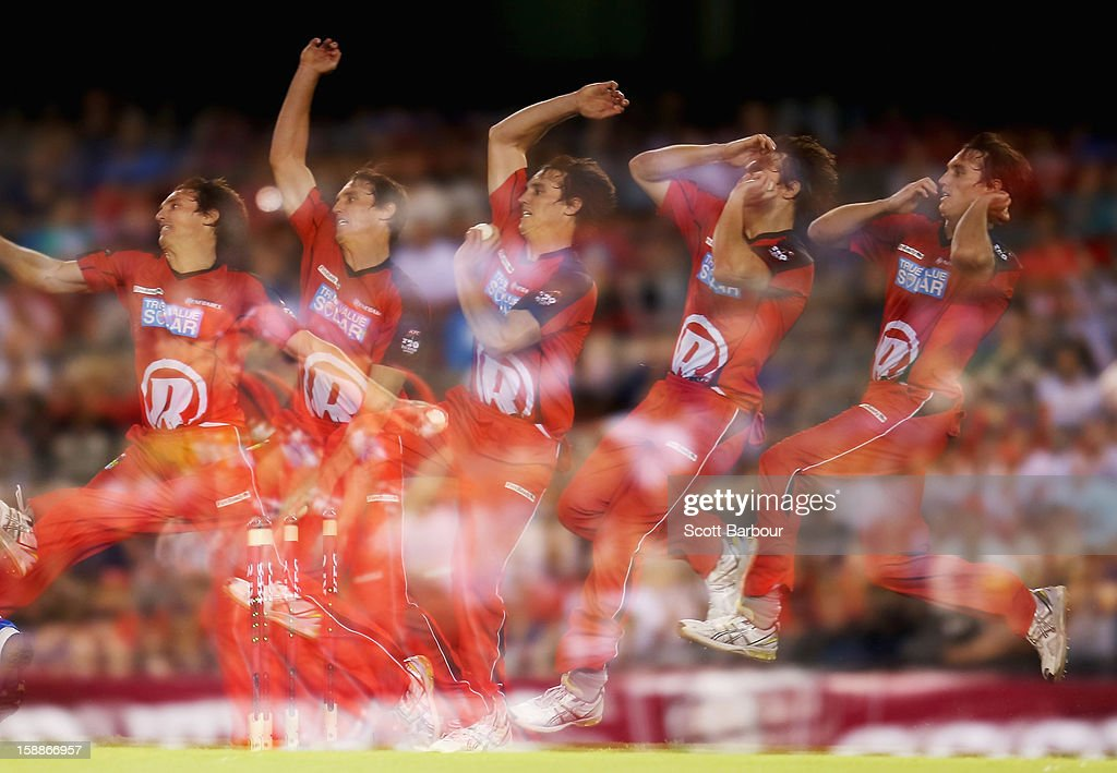 William Sheridan of the Renegade bowls during the Big Bash League match between the Melbourne Renegades and the Adelaide Strikers at Etihad Stadium on January 2, 2013 in Melbourne, Australia.
