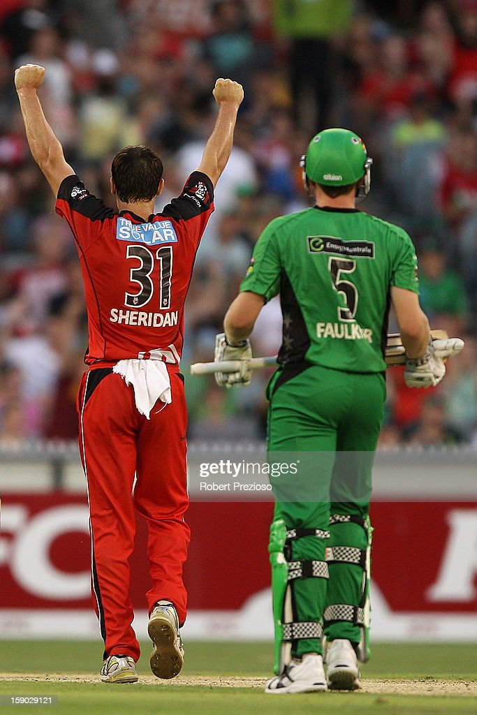 William Sheridan of the Renegades celebrates the wicket of James Faulkner of the Stars during the Big Bash League match between the Melbourne Stars and the Melbourne Renegades at Melbourne Cricket Ground on January 6, 2013 in Melbourne, Australia.