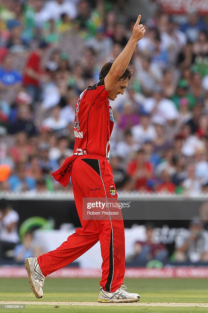 William Sheridan of the Renegades celebrates the wicket of Luke Wright of the Stars during the Big Bash League match between the Melbourne Stars and the Melbourne Renegades at Melbourne Cricket Ground on January 6, 2013 in Melbourne, Australia.