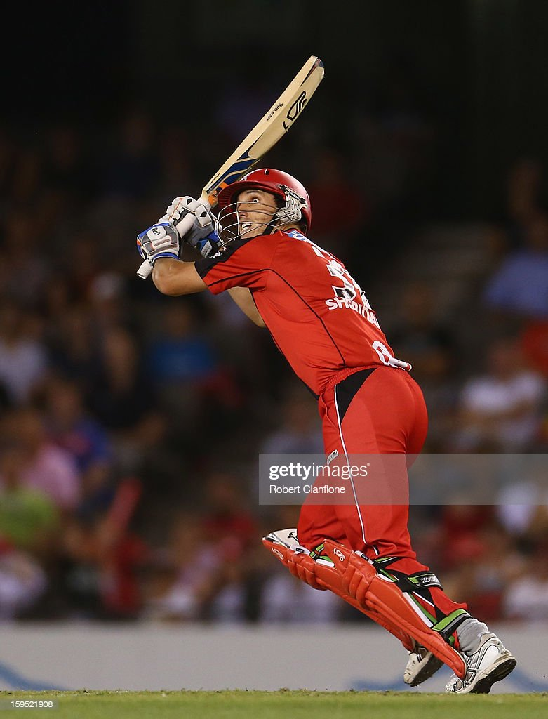William Sheridan of the Renegades hits out during the Big Bash League Semi-Final match between the Melbourne Renegades and the Brisbane Heat at Etihad Stadium on January 15, 2013 in Melbourne, Australia.