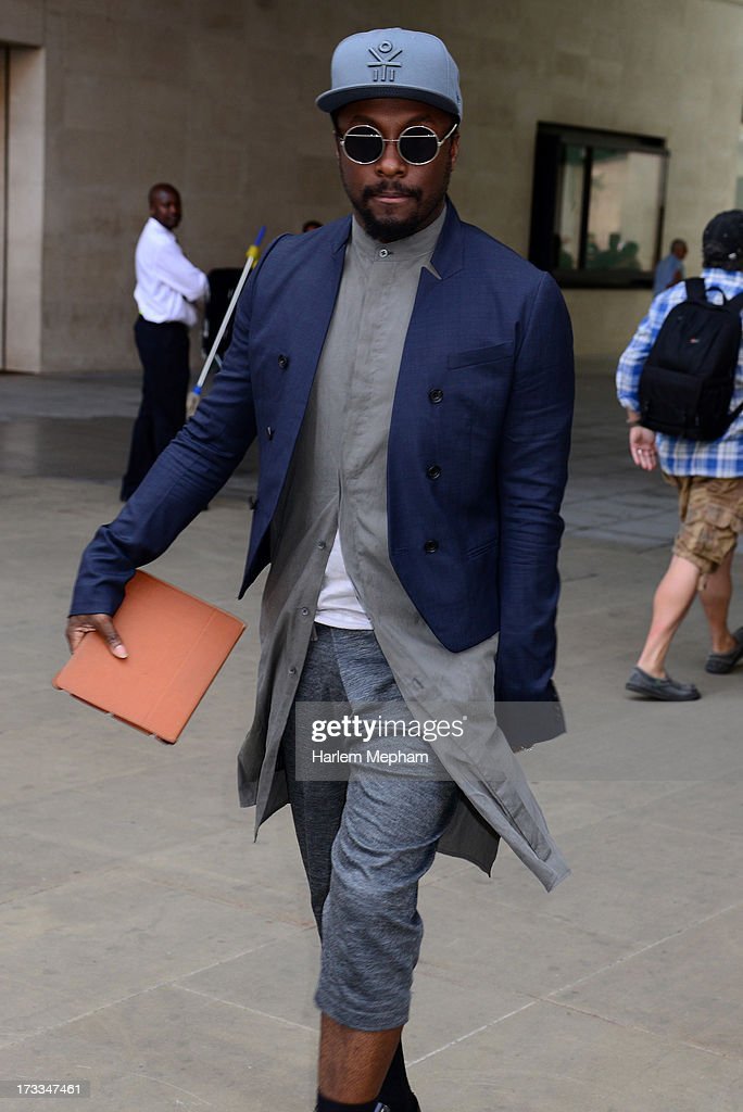 Will.i.am sighted at BBC Radio on July 12, 2013 in London, England.