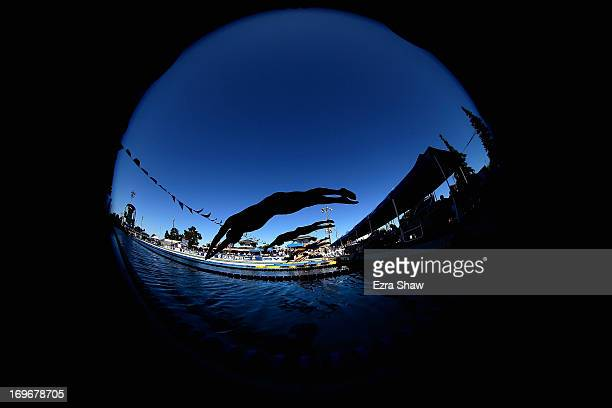 William Silva dives in for the start of heat 2 of the men's 800 freestyle during Day One of the Santa Clara International Grand Prix at the George F...