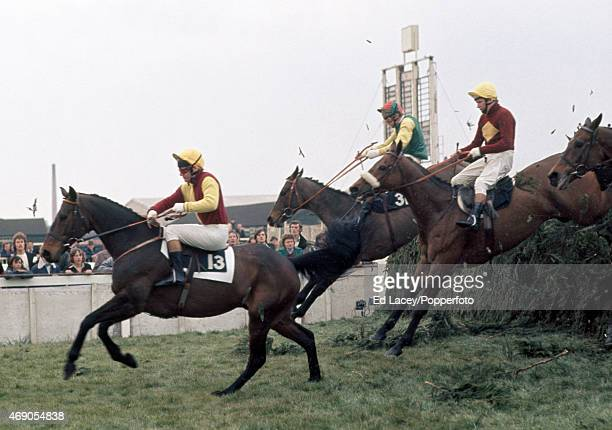 William Smith riding Spanish Steps leading Phil Blacker riding Kilmore Boy and Brian Fletcher riding Red Rum in the Aintree Grand National at the...