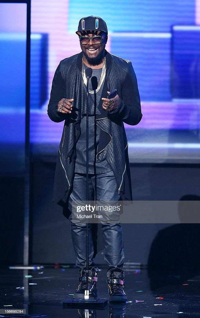 will.i.am speaks onstage at The 40th American Music Awards held at Nokia Theatre L.A. Live on November 18, 2012 in Los Angeles, California.