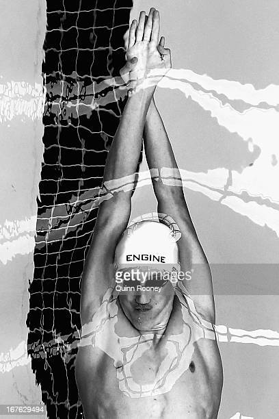 William Stockwell of Australia competes in the Men's 100 Metre Backstroke during day two of the Australian Swimming Championships at SA Aquatic and...