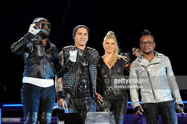 william Taboo Fergie and apldeap of the Black Eyed perform onstage during CHASE Presents The Black Eyed Peas and Friends 'Concert 4 NYC' benefiting...