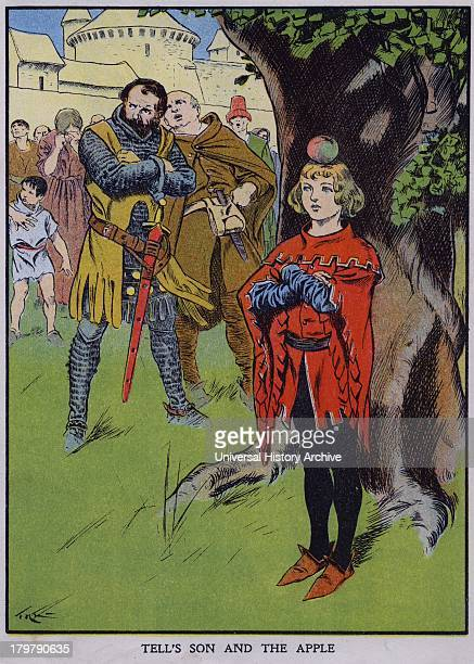 William Tell's son waiting for his father to shoot the apple on his head 1307