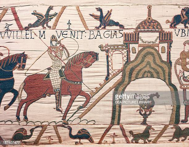 William the Conqueror arriving in Bayeux detail from the Bayeux tapestry or the Tapestry of Queen Matilda France 11th century