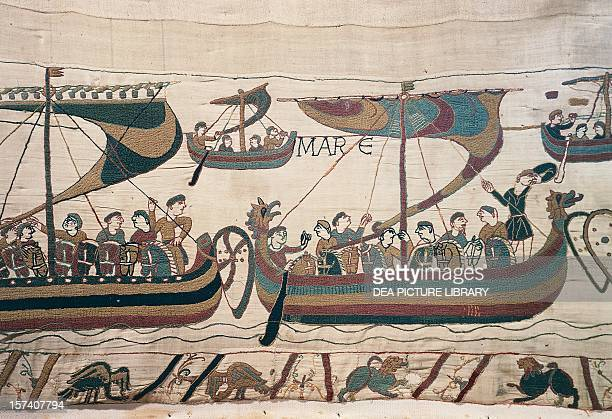 William the Conqueror's fleet crossing the English Channel detail from the Bayeux tapestry or the Tapestry of Queen Matilda France 11th century