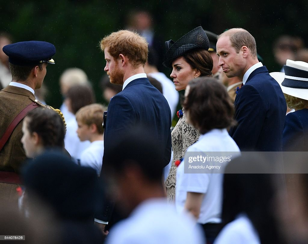 William the Duke of Cambridge (R), Catherine the Duchess of Cambridge (2nd R) and Britain Prince Harry (2nd L) attend the ceremony to mark the centenary of the Battle of the Somme at the Thiepval monument, in Thiepval, near Amiens, northern France on July 01, 2016. The Battle of the Somme remains as one of the most deadly battles of the First World War.