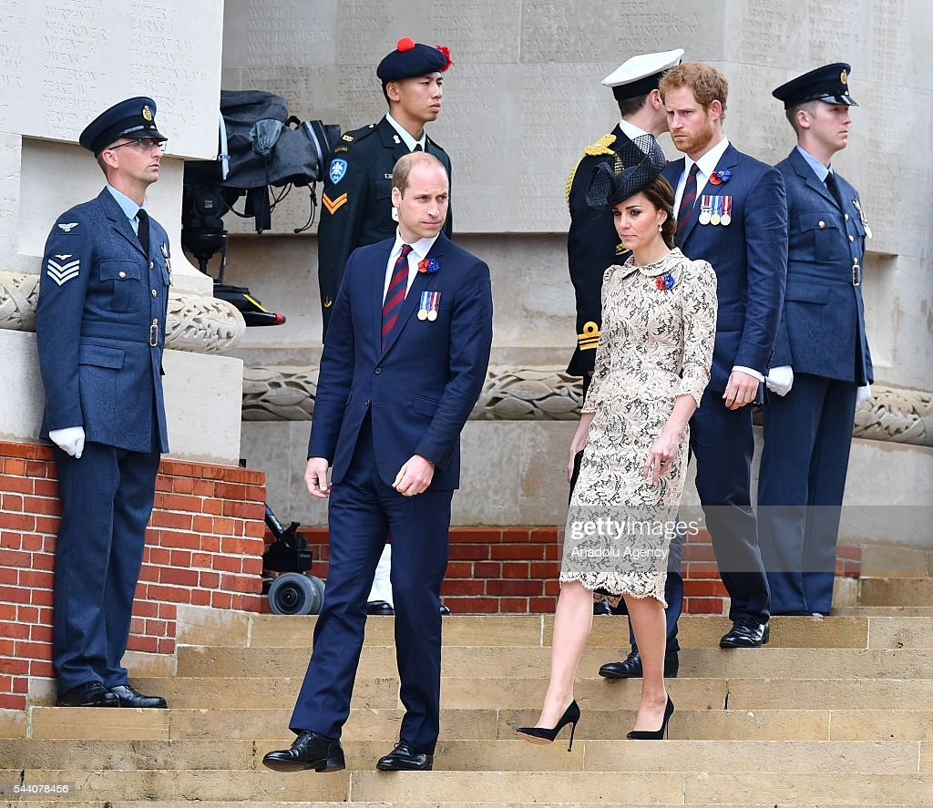 William the Duke of Cambridge (2nd L), Catherine the Duchess of Cambridge (3rd L) and Britain Prince Harry (2nd R) attend the ceremony to mark the centenary of the Battle of the Somme at the Thiepval monument, in Thiepval, near Amiens, northern France, 01 July 2016. The Battle of the Somme remains as one of the most deadly battles of the First World War.