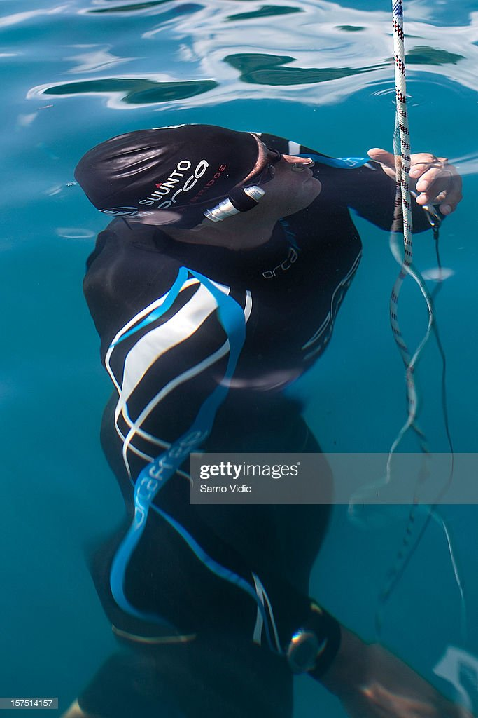 William Trubridge of New Zealand comes to the surface during the Suunto free diving world cup on November 24, 2012 in Long Island, Bahamas.