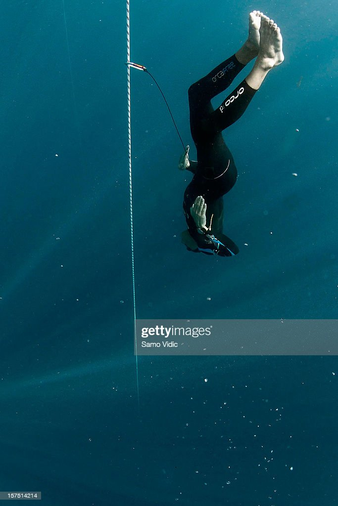 William Trubridge of New Zealand descends during the Suunto free diving world cup on November 21, 2012 in Long Island, Bahamas.