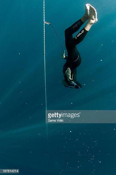 William Trubridge of New Zealand descends during the Suunto free diving world cup on November 21 2012 in Long Island Bahamas