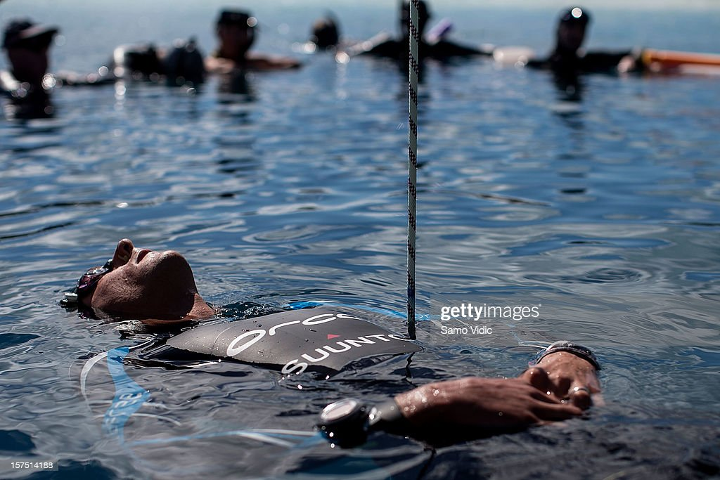 William Trubridge of New Zealand floats on the surface before his free dive at Suunto free diving world cup on November 26, 2012 in Long Island, Bahamas.