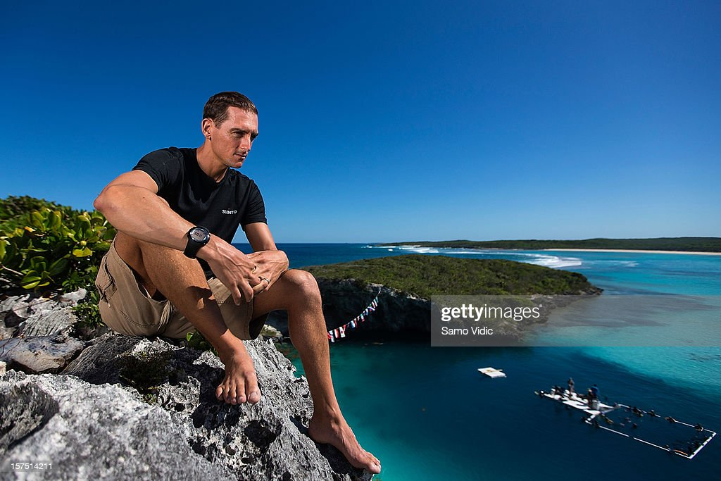 William Trubridge of New Zealand looks on before his free dive at Suunto free diving world cup on November 25, 2012 in Long Island, Bahamas.