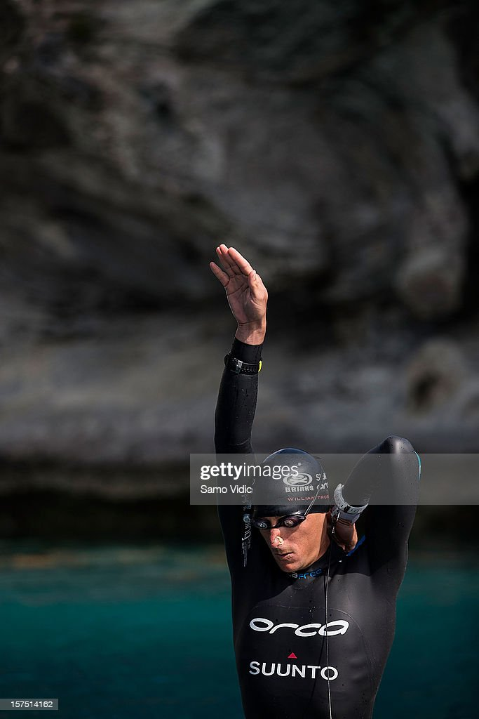 William Trubridge of New Zealand prepares for his free dive at Suunto free diving world cup on November 26, 2012 in Long Island, Bahamas.