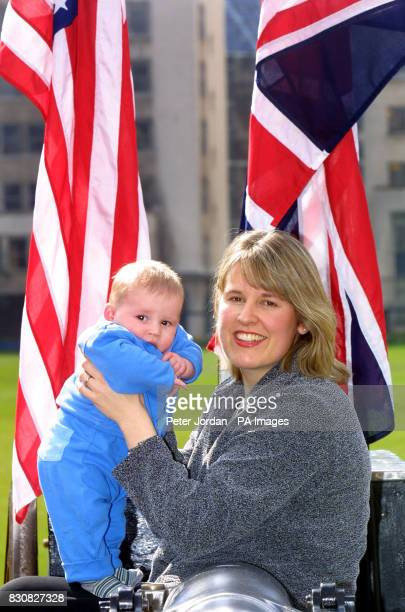 William Turner age four months and mum Elizabeth Turner at a photo call in London Mrs Turner's husband Simon was killed in the US terrorist attacks...