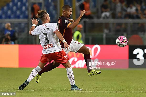 William Vainquerer and Gaetano Letizia fight for the ball during the Italian Serie A match between AS Roma and FC Carpi at Stadio Olimpico in Rome on...