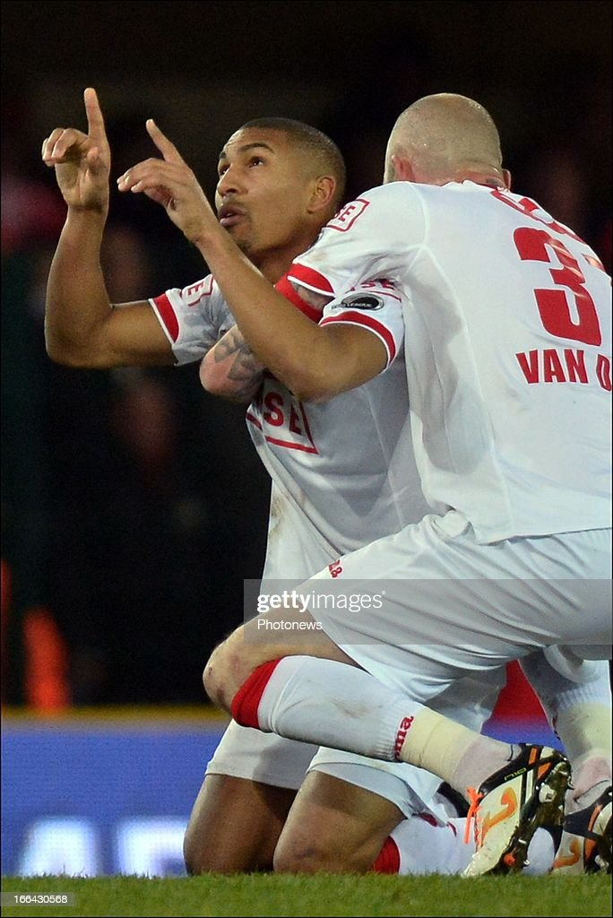 William Vainqueur of Standard celebrates scoring a goal during the Jupiler League match play-off 1 between Zulte Waregem and Standard de Liege on April 12, 2013 in Waregem, Belgium.