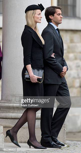 William Van Cutsem and Rosie Ruck Keene attend a requiem mass for Hugh van Cutsem who passed away on September 2nd 2013 at Brentwood Cathedral on...