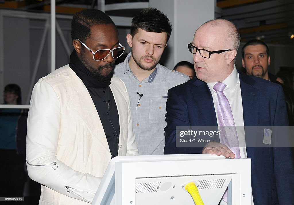 Will.i.am (L) visits The Science Museum where he announced The Prince's Trust new STEM (Science, Technology, Engineering and Maths) workshops for teens at Science Museum on March 11, 2013 in London, England.