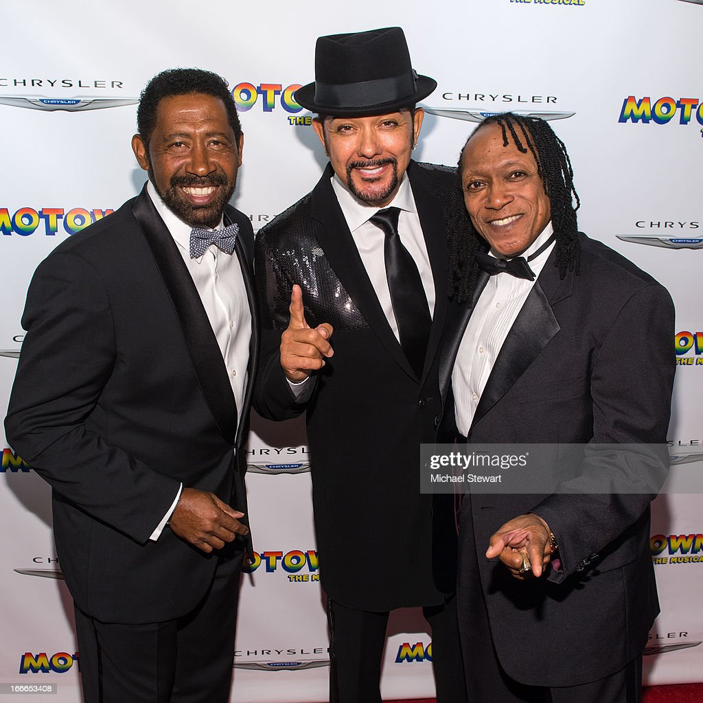 William 'Wak' King JD Nicholas and Walter Orange of the Commodores attend the after party for the Broadway opening night for 'Motown The Musical' at...