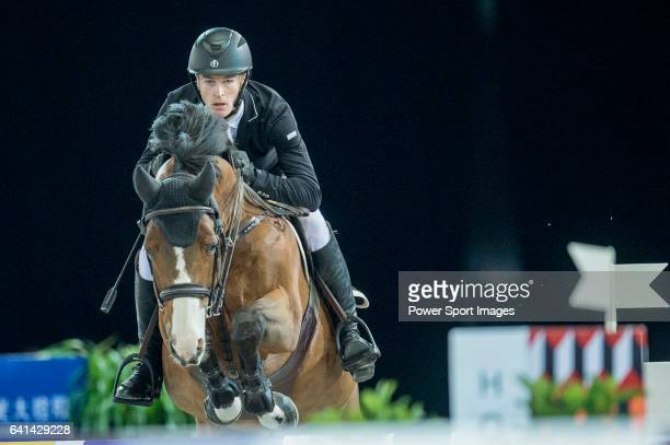 William Whitaker of United Kingdom riding on Utamaro D Ecaussines competes during the EEM Trophy part of the Longines Masters of Hong Kong on 10...