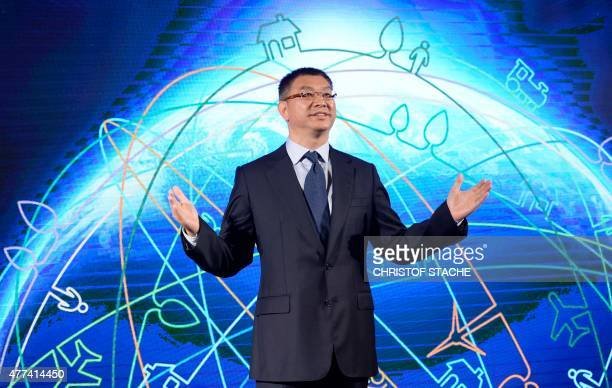 William Xu Executive Director of the Board of Chinese telecommunication company Huawei is pictured prior to the Huawei Innovation Day in Munich...